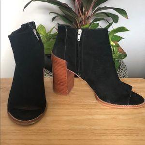 Black Suede Peep Toe Ankle Booties Size 11